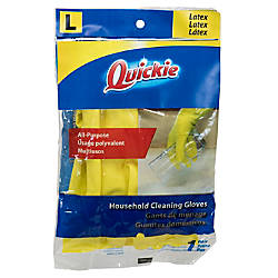 Quickie Lined Latex Gloves Large Yellow