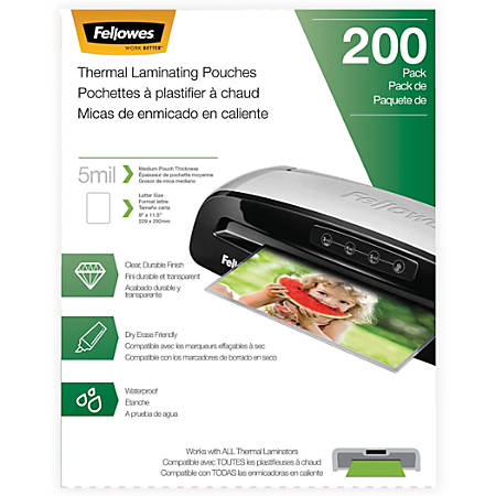 """Fellowes® Laminating Pouches, Letter, 5 mil, 11 1/2"""" x 9"""", Clear, Pack Of 200"""