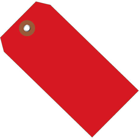 """Office Depot® Brand Plastic Shipping Tags, 4 3/4"""" x 2 3/8"""", Red, Case Of 100"""