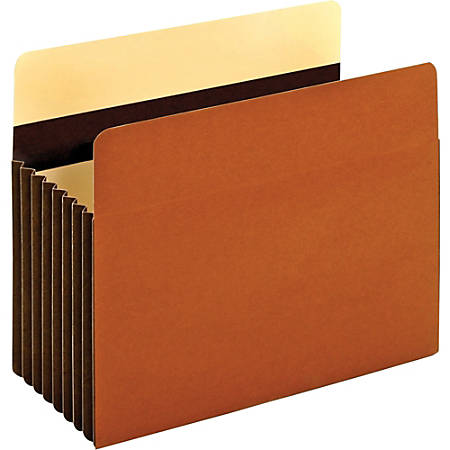 "Pendaflex® Redrope Heavy-Duty Accordion File Pockets, 7"" Expansion, Letter Size, Brown, Box Of 5 Pockets"