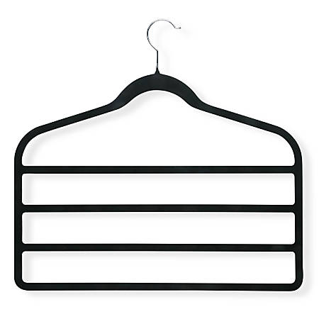 Honey-Can-Do Velvet Touch Skirt And Pant Hangers, Black, Pack Of 4