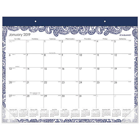 """AT-A-GLANCE® Paige Monthly Desk Pad Calendar, 21 3/4"""" x 15 1/2"""", January to December 2019"""