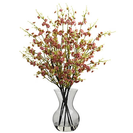 """Nearly Natural 30""""H Silk Cherry Blossoms Arrangement With Vase"""
