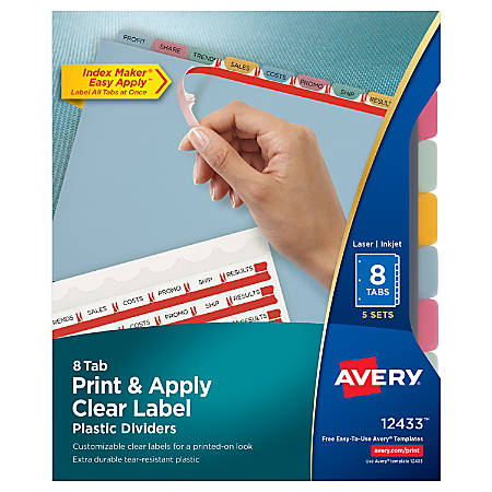 Avery® Print & Apply Clear Label Translucent Plastic Dividers with Index Maker® Easy Apply™ Printable Label Strip, 8 Multicolor Tabs, Pack Of 5 Sets