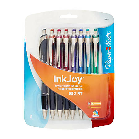 Paper Mate® InkJoy® 550 RT Ballpoint Pens, Medium Point, 1.0 mm, Assorted Translucent Barrels, Assorted Ink Colors, Pack Of 8