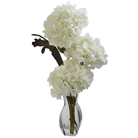 """Nearly Natural 28""""H Silk Triple Hydrangeas With Vase"""