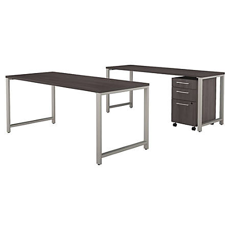 "Bush Business Furniture 400 Series 72""W x 30""D Table Desk with Credenza and 3 Drawer Mobile File Cabinet, Storm Gray, Standard Delivery"