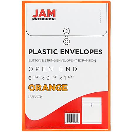 "JAM Paper® Open-End Plastic Envelopes, 6 1/4"" x 9 1/4"", Bright Orange, Pack Of 12"