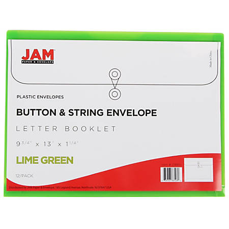 """JAM Paper® Booklet Plastic Envelopes With Button & String Closure, Letter-Size, 9 3/4"""" x 13"""", Lime Green, Pack Of 12"""