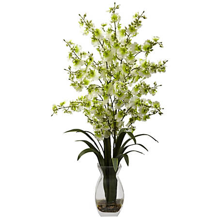 """Nearly Natural 25""""H Polyester Dancing Lady Orchid Arrangement With Vase"""