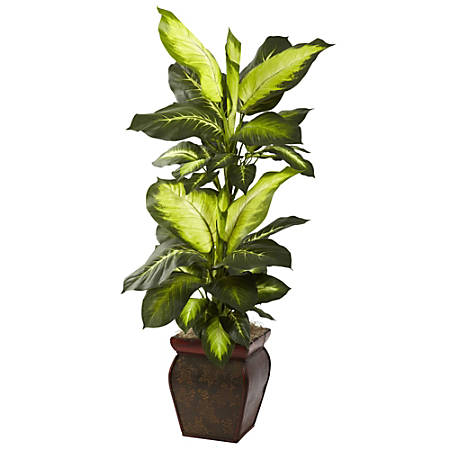 """Nearly Natural 45""""H Plastic Golden Dieffenbachia With Planter"""
