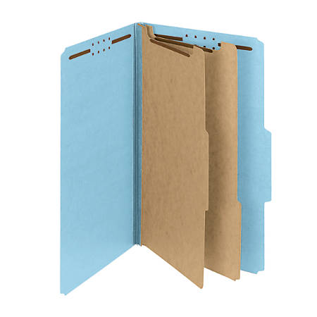 Smead® Pressboard Classification Folders With SafeSHIELD® Fasteners, 2 Dividers, Legal Size, 60% Recycled, Blue, Box Of 10