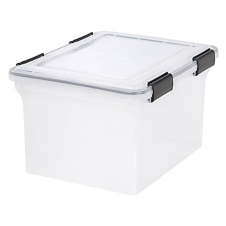 """IRIS® Letter/Legal Size Weather-Tight File Box, 10 9/10""""H x 14 1/2""""W x 17 7/8""""D, Clear"""