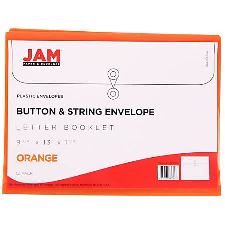 "JAM Paper® Booklet Plastic Envelopes With Button & String Closure, Letter-Size, 9 3/4"" x 13"", Orange, Pack Of 12"