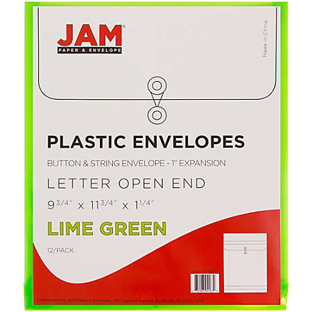 "JAM Paper® Open-End Plastic Envelopes, Letter-Size, 9 3/4"" x 11 3/4"", Lime Green, Pack Of 12"