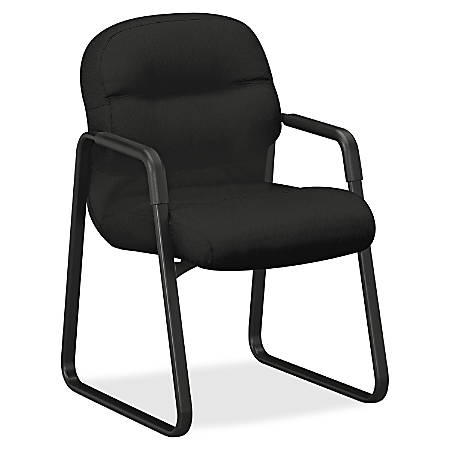 """HON Pillow-Soft Guest Chair, Fixed Arms - Memory Foam Black, Fabric Seat - Polyester Fiberfill Black Back - Black Frame - Sled Base - 21"""" Seat Width x 19"""" Seat Depth - 23.3"""" Width x 27.8"""" Depth x 36"""" Height"""