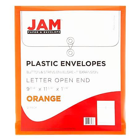 "JAM Paper® Open-End Plastic Envelopes, Letter-Size, 9 3/4"" x 11 3/4"", Orange, Pack Of 12"