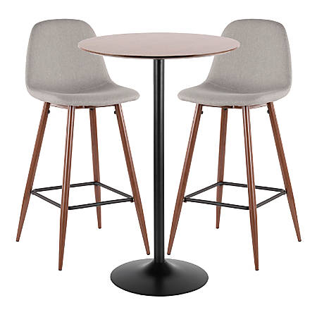 Marvelous Lumisource Pebble Mid Century Modern Table With 2 Chairs Black Walnut Light Gray Item 7722691 Unemploymentrelief Wooden Chair Designs For Living Room Unemploymentrelieforg