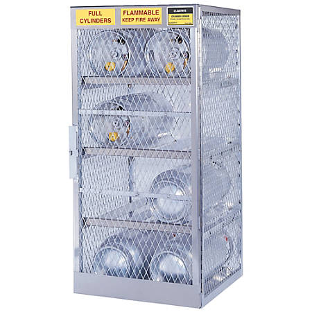 Justrite Horizontal Cylinder Storage Locker, 8 Cylinders