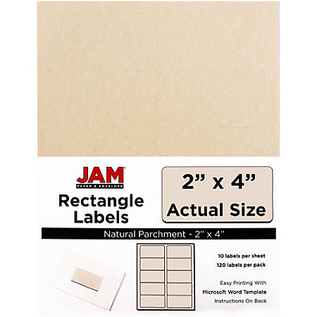"""JAM Paper® Rectangular Mailing Address Labels, V0227360, 2"""" x 4"""", 30% Recycled, Natural Parchment, Pack Of 120"""