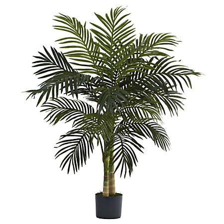 Nearly Natural 4'H Plastic Golden Cane Palm Tree With Pot