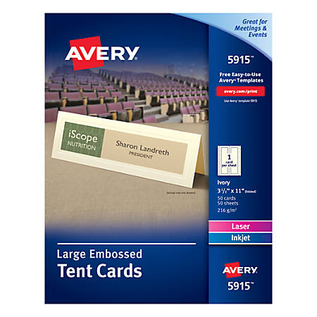 "Avery® Embossed Tent Cards, 3 1/2"" x 11"", Ivory, Pack Of 50"