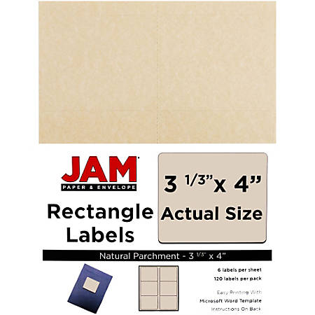 """JAM Paper® Mailing Address Labels, 2275083, 4"""" x 3 5/16"""", 30% Recycled, Natural Parchment, Pack Of 120"""