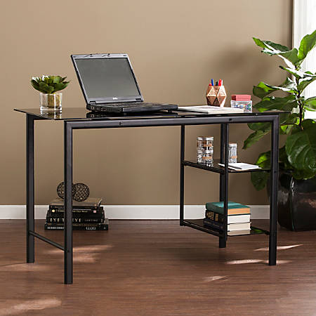 Southern Enterprises Oslo Contemporary Metal Glass Desk, Black