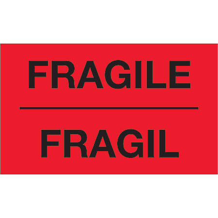 """Tape Logic® Bilingual Labels, DL1091, Fragil, 3"""" x 5"""", Fluorescent Red, Roll Of 500"""
