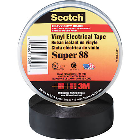 "3M™ Super 88 Electrical Tape, 1.5"" Core, 0.75"" x 66', Black, Pack Of 10"