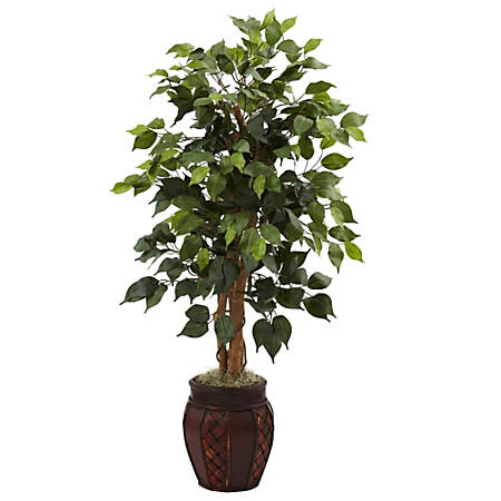 "Nearly Natural 44""H Plastic Ficus Tree With Decorative Planter"