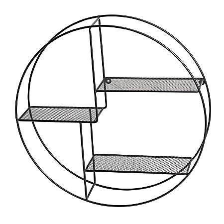 "Honey Can Do Rustic Circular Wall Shelf, 3 Tiers, 21-11/16""H x 21-11/16""W x 4-3/4""D, Black"
