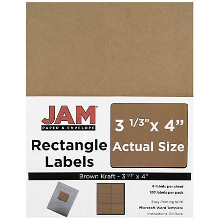 "JAM Paper® Mailing Address Labels, 4513702, 4"" x 3 5/16"", Brown Kraft, Pack Of 120"