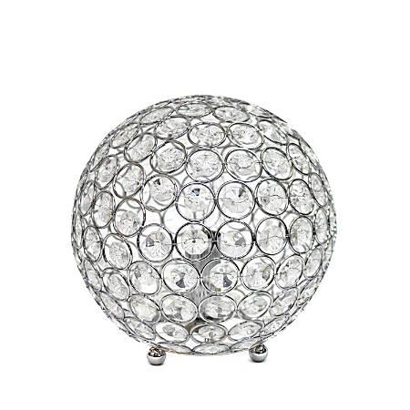"Elegant Designs Crystal Ball Table Lamp, 8""H, Chrome Shade/Chrome Base"