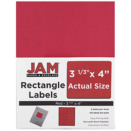 """JAM Paper® Mailing Address Labels, 14516067, 4"""" x 3 5/16"""", Red, Pack Of 120"""