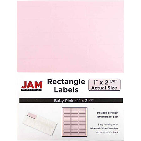 """JAM Paper® Mailing Address Labels, 4052895, 2 5/8"""" x 1"""", Baby Pink, Pack Of 120"""