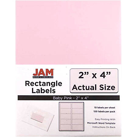 """JAM Paper® Rectangular Mailing Address Labels, 4052897, 2"""" x 4"""", Baby Pink, Pack Of 120"""