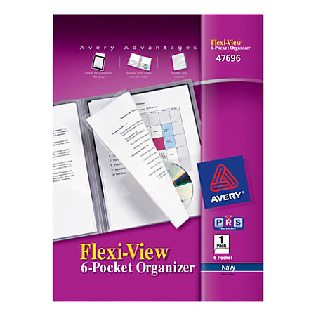 "Avery® Flexi-View 6-Pocket Organizer, 8 1/2"" x 11"", Navy Blue"