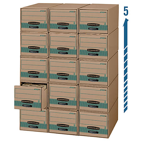 """Bankers Box® Stor/Drawer® Steel Plus™ 100% Recycled Drawer Files, Letter Size, 23 1/4"""" x 12 1/2"""" x 10 3/8"""", Kraft/Green, Pack Of 6"""
