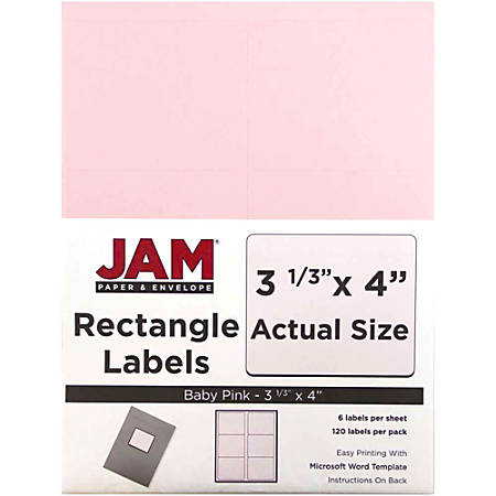 """JAM Paper® Mailing Address Labels, 4052899, 4"""" x 3 5/16"""", Baby Pink, Pack Of 120"""