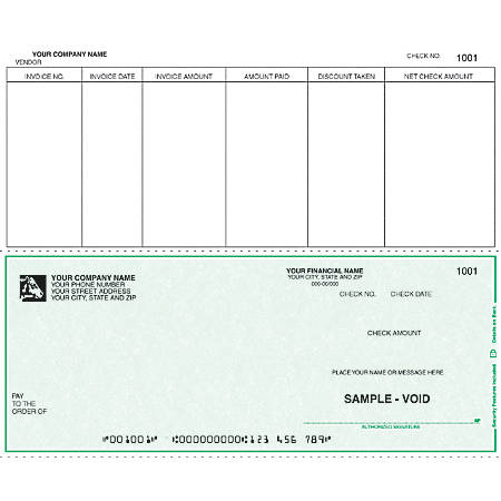 """Custom Continuous Accounts Payable Checks For RealWorld®, 9 1/2"""" x 7"""", 2 Parts, Box Of 250"""