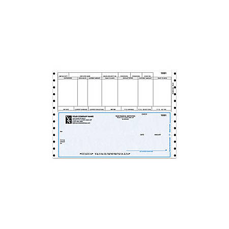 "Custom Continuous Payroll Checks For Sage Peachtree®, 9 1/2"" x 6 1/2"", 2 Parts, Box Of 250"