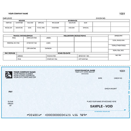 """Custom Continuous Payroll Checks For RealWorld®, 9 1/2"""" x 7"""", 2 Parts, Box Of 250"""