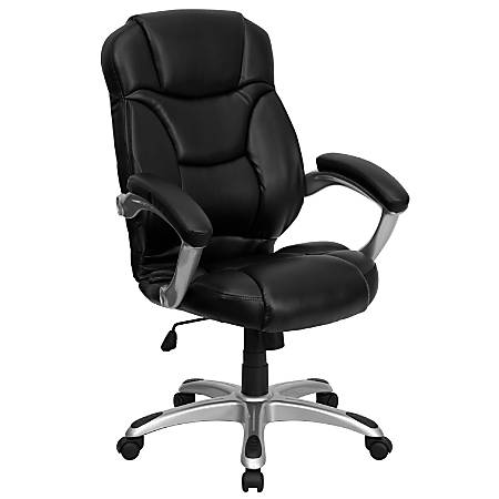 Flash Furniture Leather High-Back Chair, Black/Silver