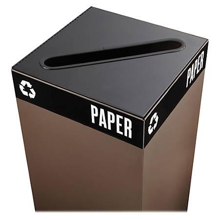 "Safco® Public Square® Recycling Receptacle Lid, 2"" x 15"" Slot, 3/4""H x 15""W x 15""D, Black"