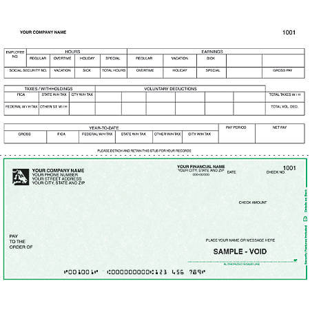 "Custom Continuous Payroll Checks For RealWorld®, 9 1/2"" x 7"", 3 Parts, Box Of 250"