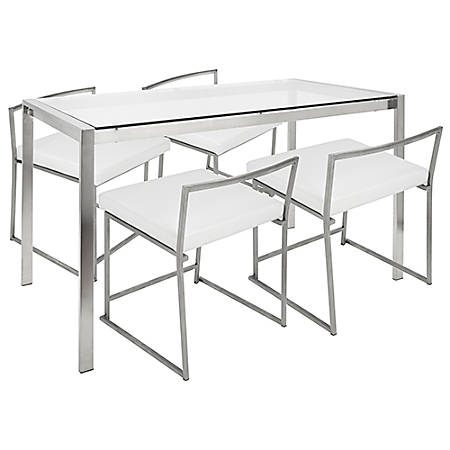 Lumisource Fuji Contemporary White Stainless Steel Dining Table With 4 Chairs Item 7730548
