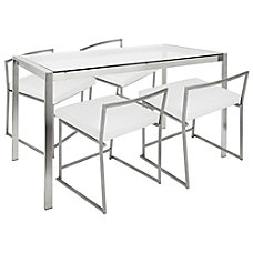 Lumisource Fuji Contemporary WhiteStainless Steel Dining