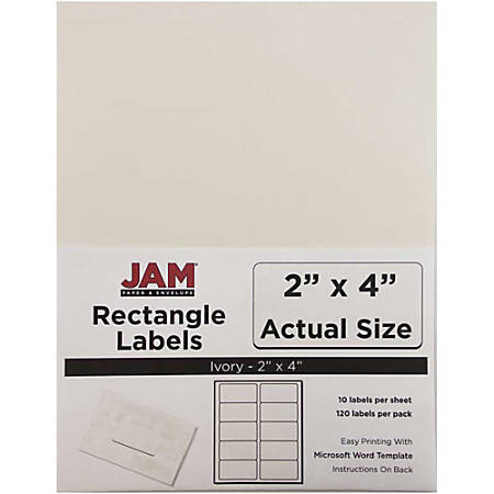 "JAM Paper® Rectangular Mailing Address Labels, 2"" x 4"", Ivory, Pack Of 120"