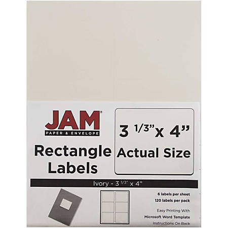 "JAM Paper® Mailing Address Labels, 17966069, 4"" x 3 5/16"", Ivory, Pack Of 120"